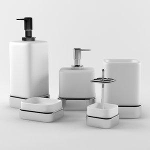 3d model bathroom accessories set 03