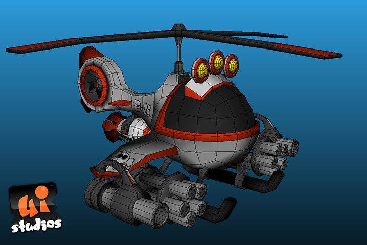 toon combat chopper 3d model