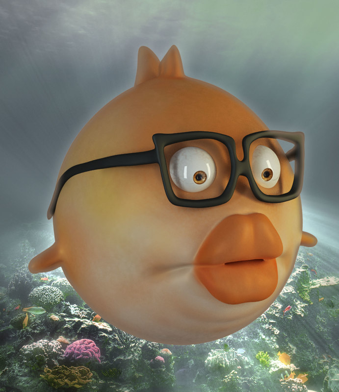 3d cartoon fish rig model