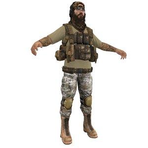 mercenary soldier 3d max