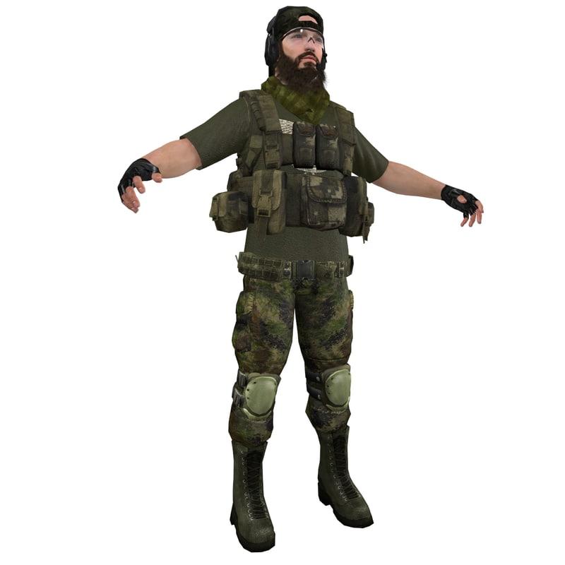 mercenary soldier 3d