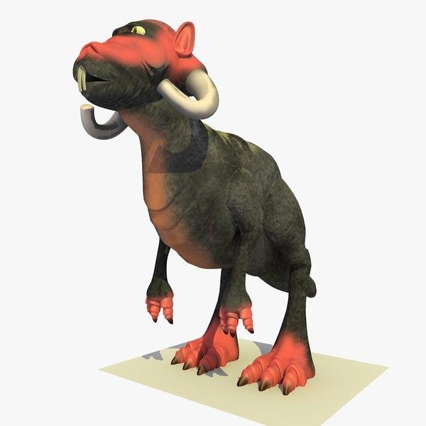 mutant alien t-rex cartoon 3d model