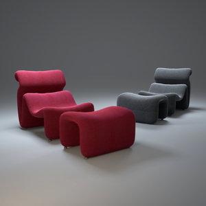 3d model sculptural-jan-ekselius-chair