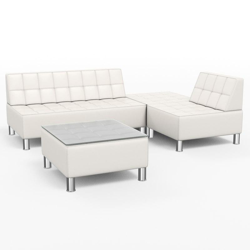 3d set sofa chair model