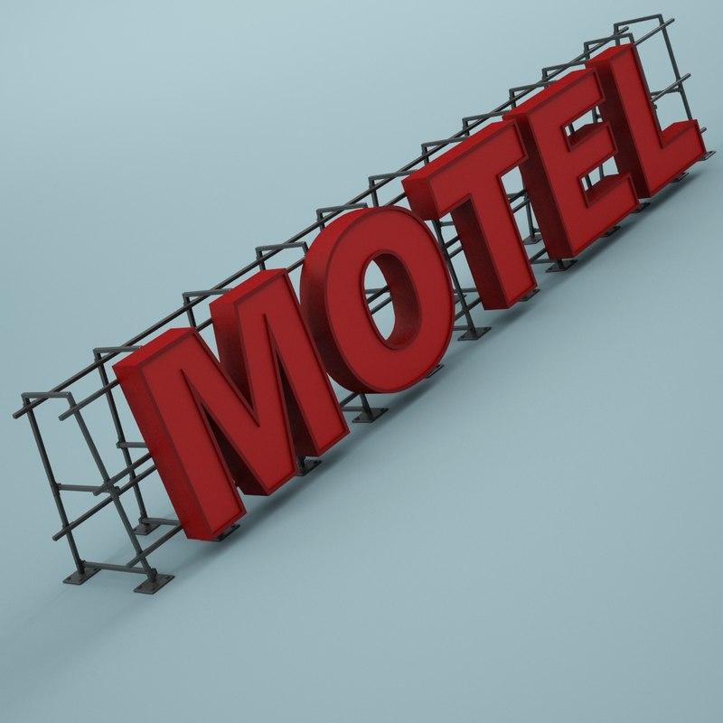 sign motel 3d max