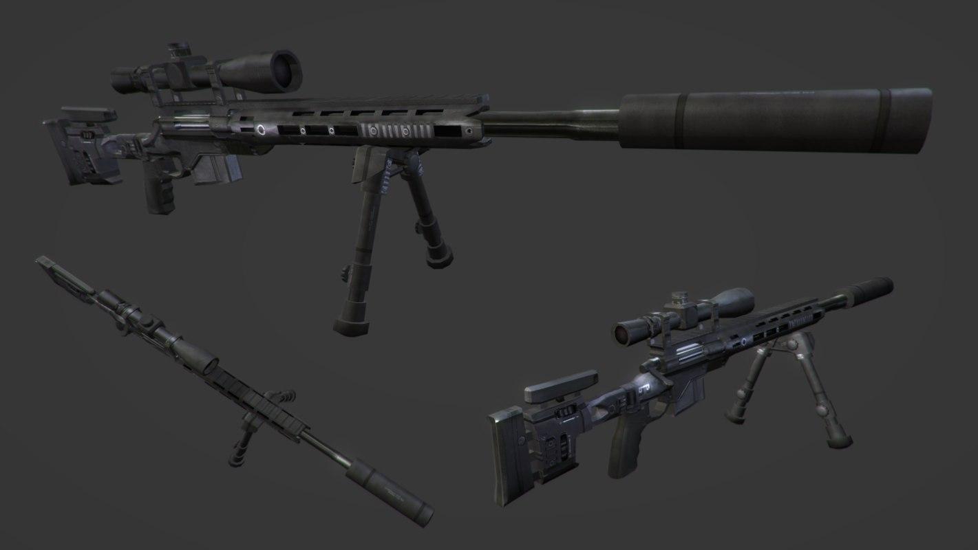 3d silenced sniper rifle model