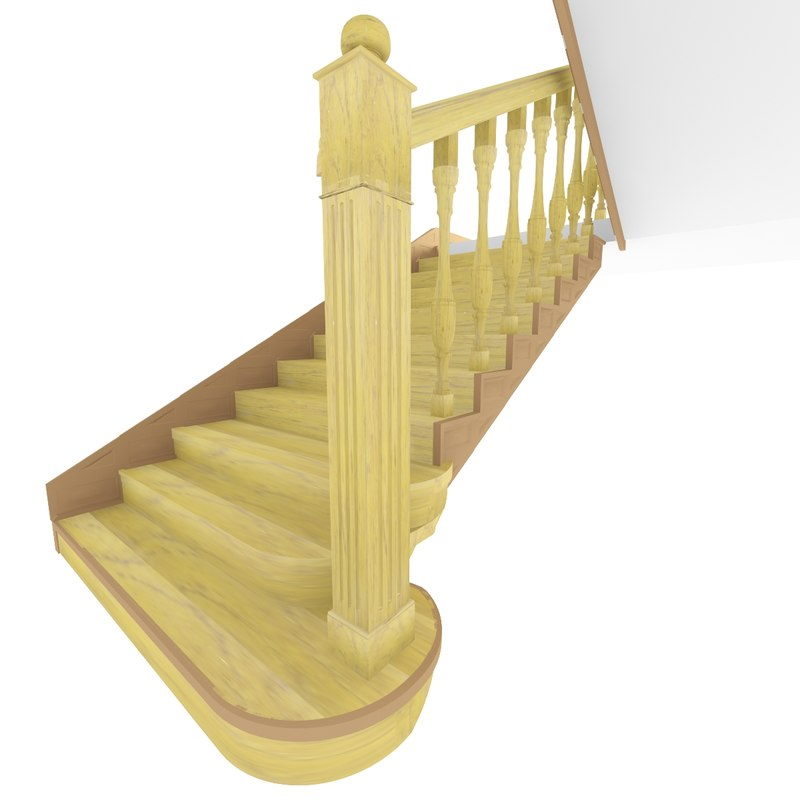 3d max wooden staircase