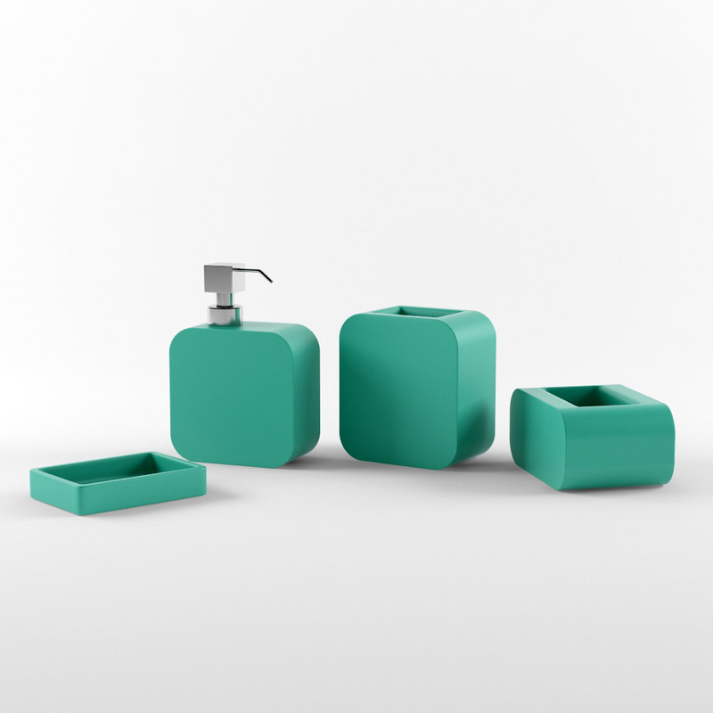 bathroom accessories set 02 3d model