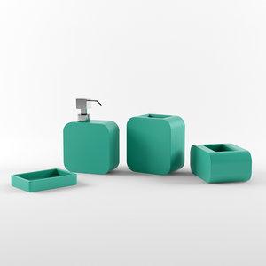 bathroom accessories set 02 3d model
