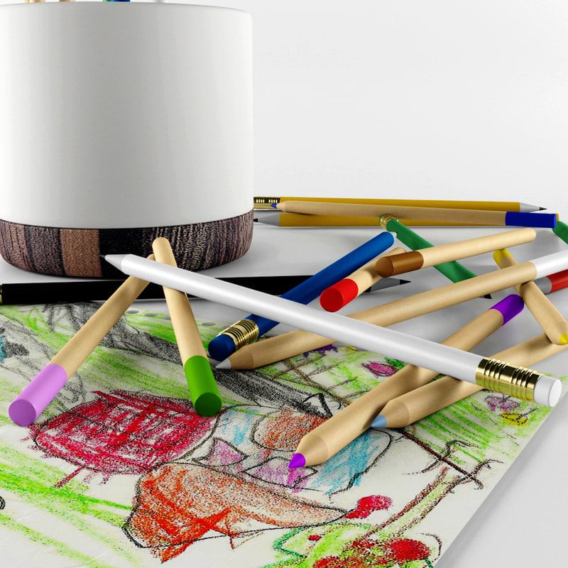 pencils set 3d model
