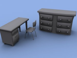 desk chair drawer obj