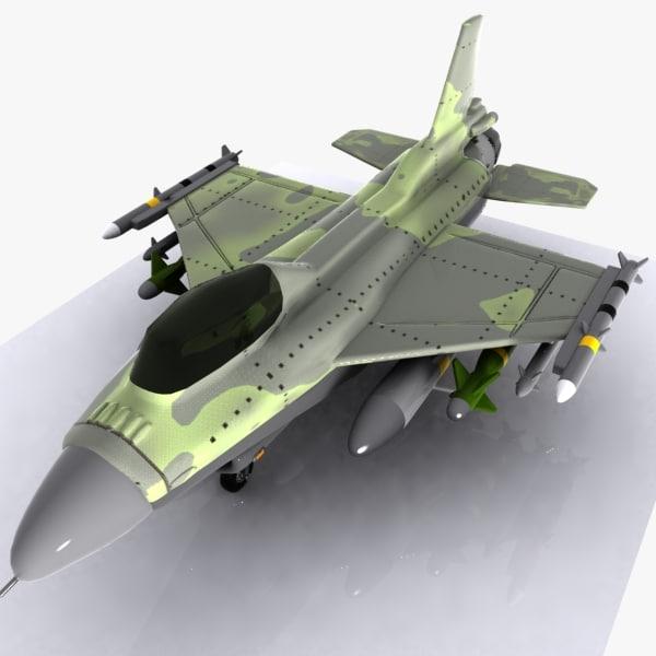3d cartoon fighter aircraft