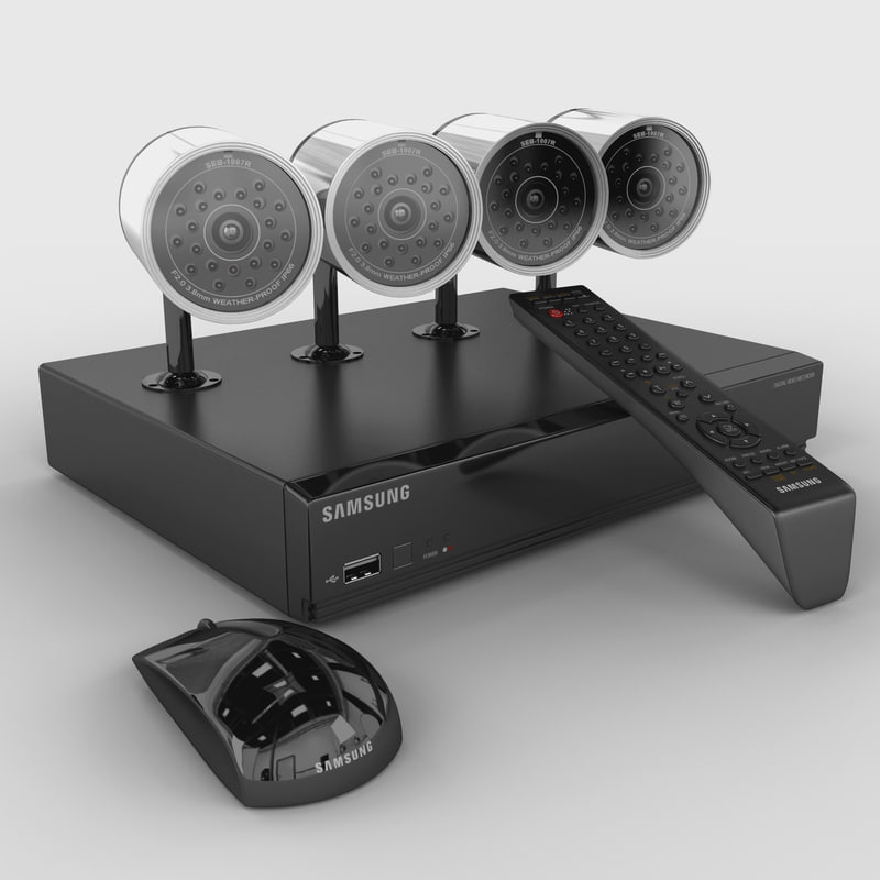 3d model 4 channel dvr security