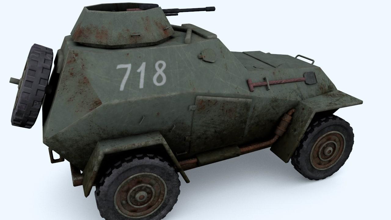 light armored car wwii 3d obj