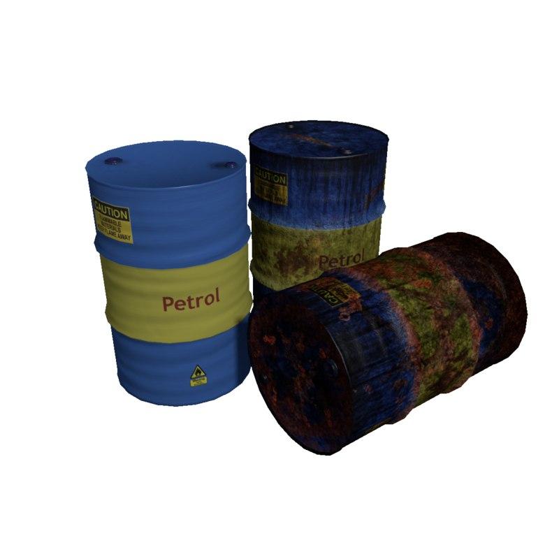 3d model barrels rusty