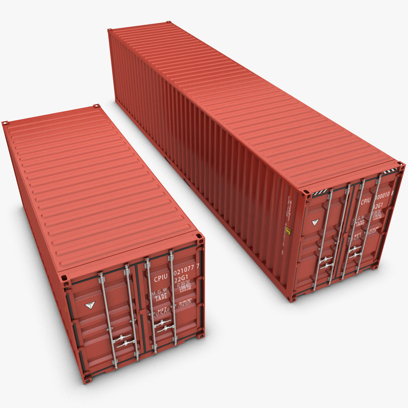 3d container 20ft 40ft