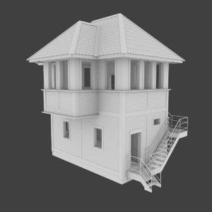 railroad tower interior 3d model