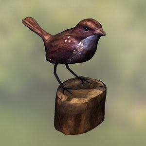 wooden sparrow 3d x