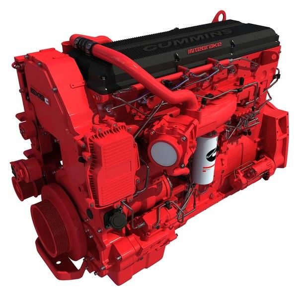 3d model isx15 cummins diesel engine