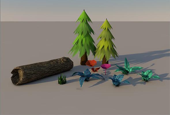 3d model plant bark grass