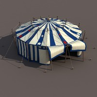 Circus tent with Stars Low Poly 3d Model