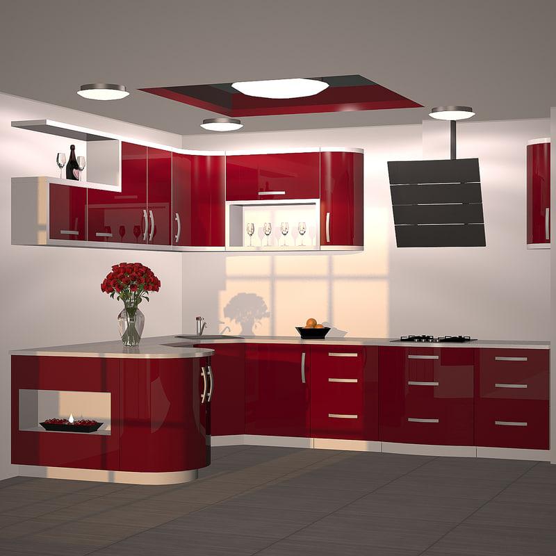 3d model kitchen furniture red
