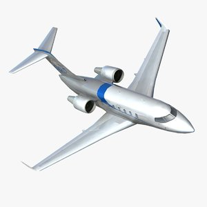 challenger 605 business jet 3d model