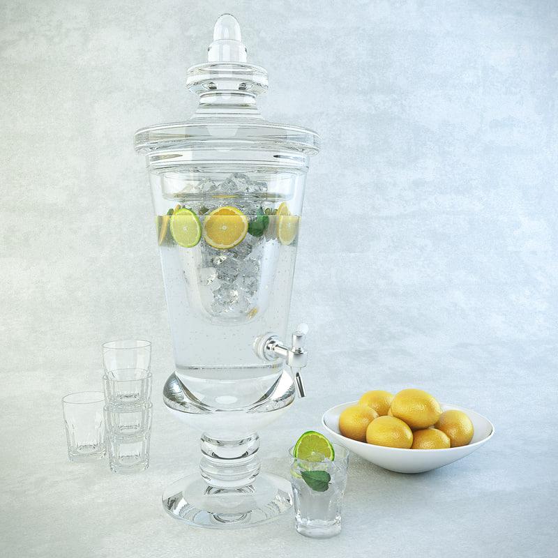 carafe lemonade glasses plate 3d model
