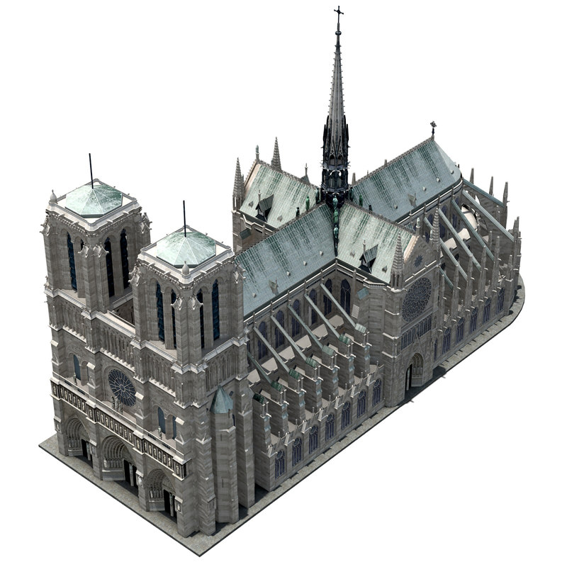 Notre Dame low poly 3d model