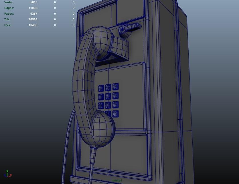 3d model of public pay phone