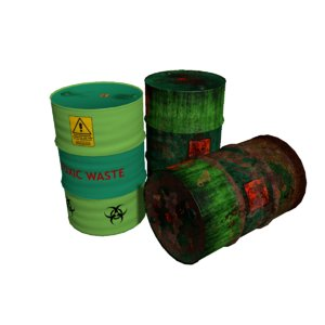 3d model of barrels rusty