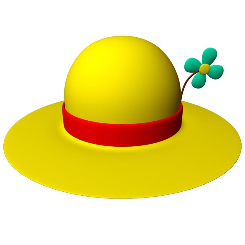 3d model cartoon flower hat ladies