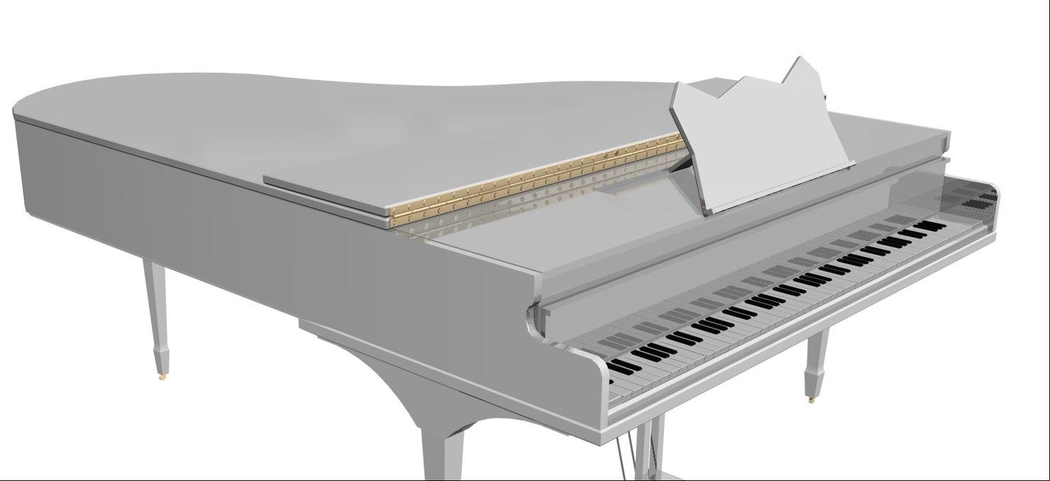 3d white piano