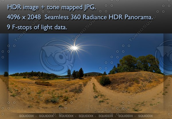 DIRT ROAD THROUGH SUNNY LATE SUMMER CALIFORNIA COUNTRYSIDE 360 HDR PANORAMA #426