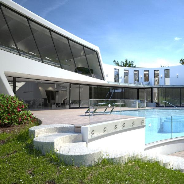 3d multiscatter modern villa