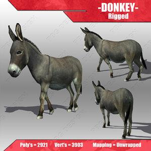 donkey animations 3d model