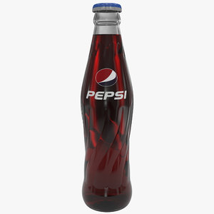pepsi cola glass bottle 3d model