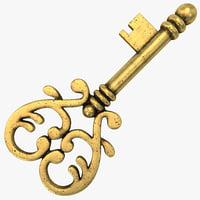 vintage key 3d c4d