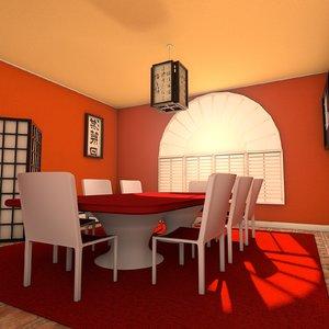 designs zen dining room 3d model