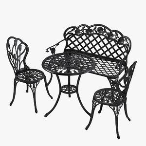 3d model outdoor patio furniture set