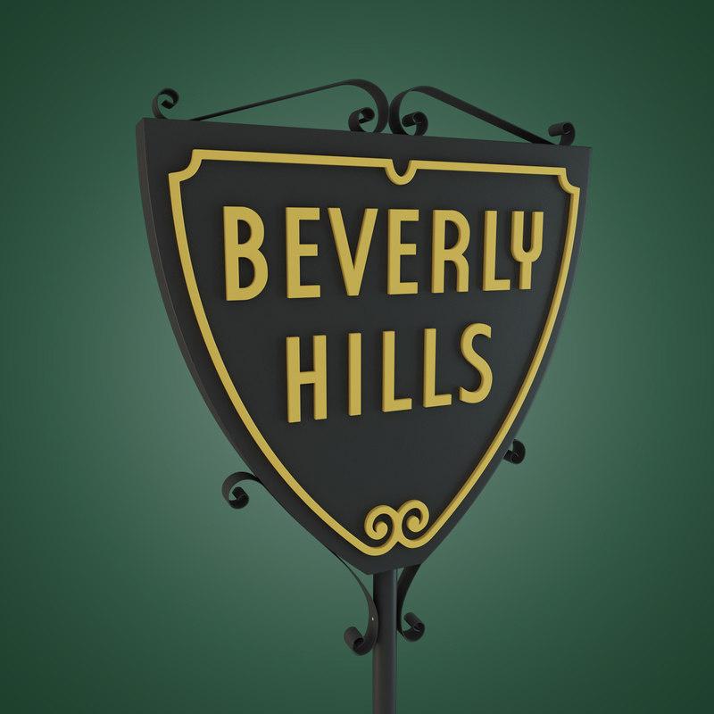 3d beverly hills sign model