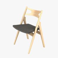 3d hans wegner ch29 chair model