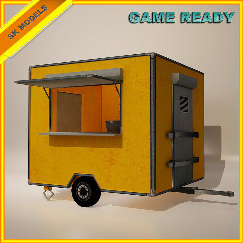 3d model mobile food cart -