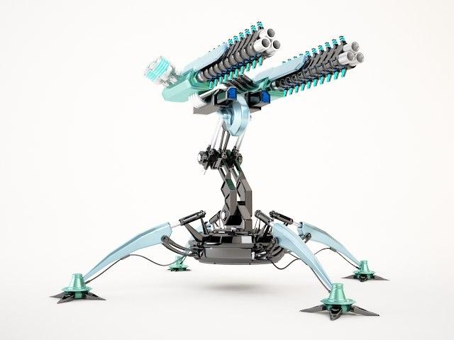 sci-fi gun tower02 3d max