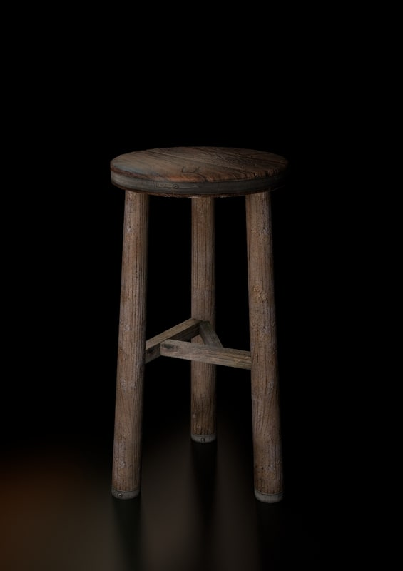 old wood bar stool 3d model
