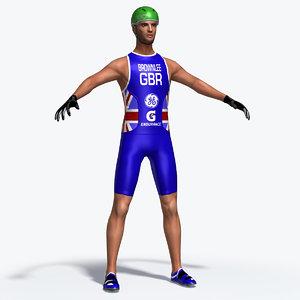 triathlon cyclist 3d max