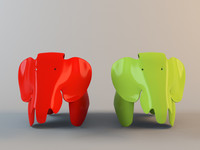 eames elephant chair vitra 3d model