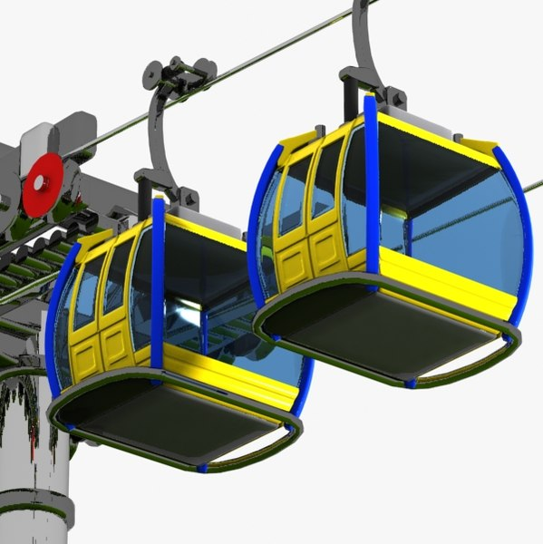 3d model of cartoon aerial tramway