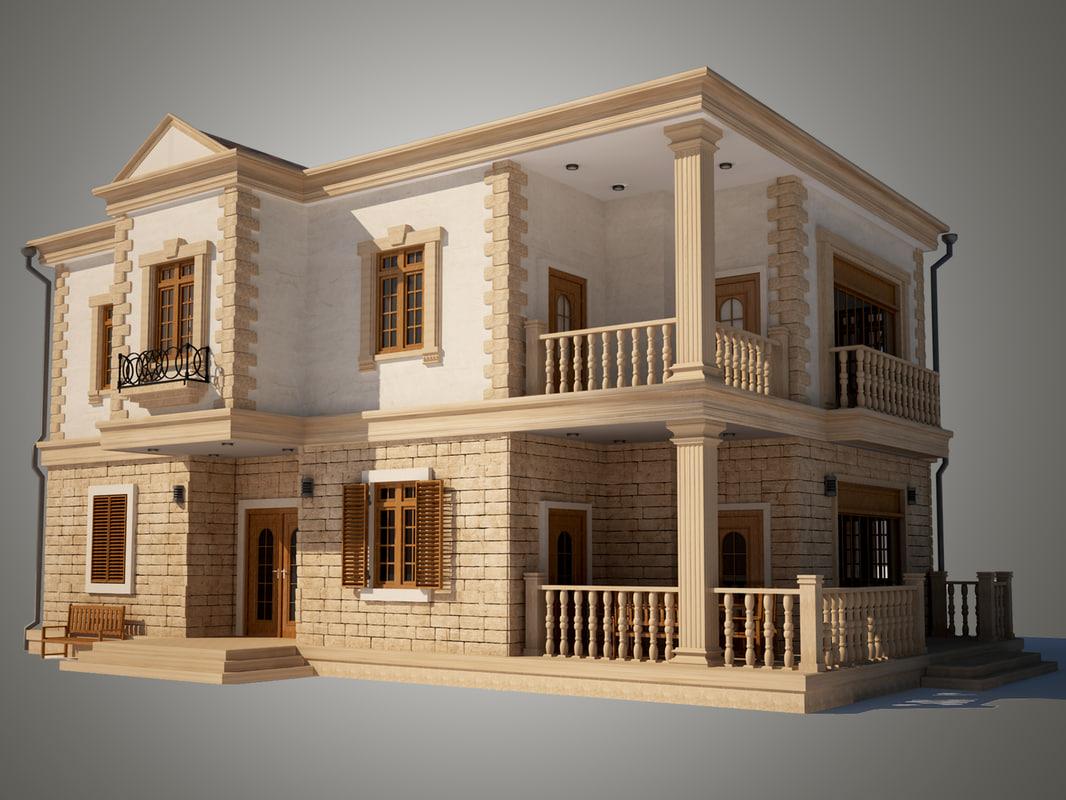 3d max house walls stone
