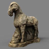 3d model of horse stone carving
